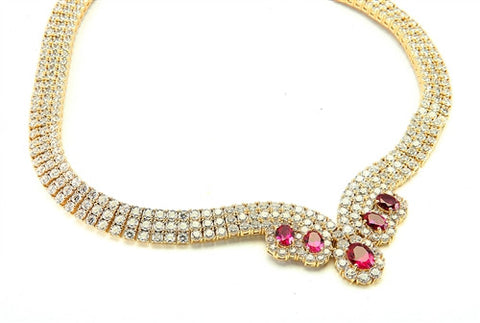 062d33891 Diamond Essence Designer Neckalace with Oval cut Ruby and Round Brilliant  Stones, 85.50 cts.