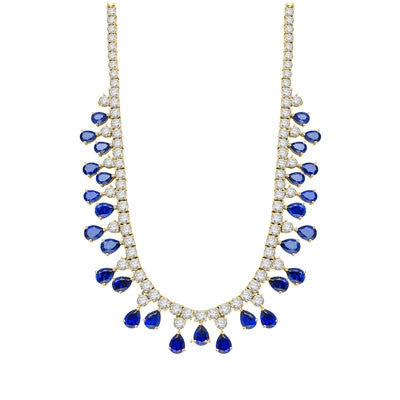 8405b9110 Diamond Essence Designer Necklace with Pear cut Sapphire and Round  Brilliant Stones, 75.0 cts.