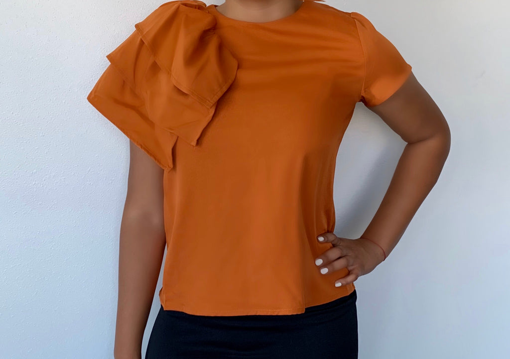 Hannah Rust Shoulder Frill Top