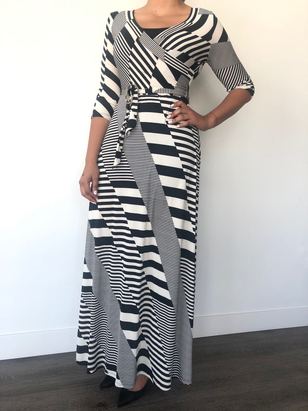 Michal Ivory Striped Maxi Dress