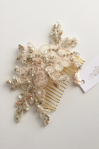 Bespoke champagne lace comb with rose gold beading for Paris