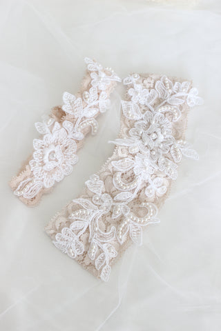 Hayley Paige sequined dress blush collection, lace blush wedding garters, garter set with lace and pearls