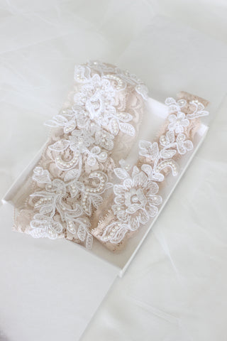 bespoke garter, lace garter,custom garter hayley page blush sequined dress bespoke headpiece