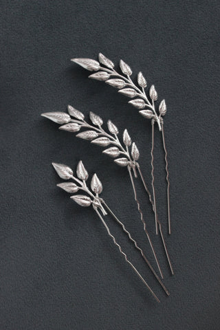 hair pins, leaf hair pins, silver leaf hair pins, bridal hair pins, bridal leaf headpiece, wedding leaf hair pin