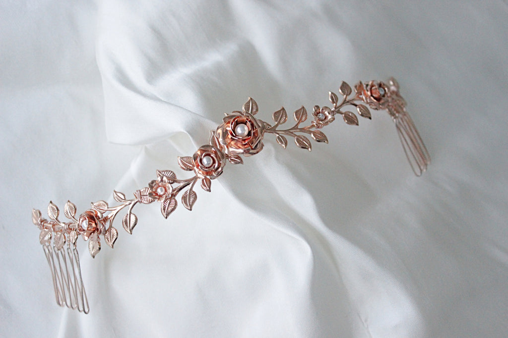 rose gold bridal headpiece,rose gold hairvine, rose gold wedding comb headpiece, floral bridal headpiece,gabbinsbar homestead wedding,queensland bride,blonde bride headpiece