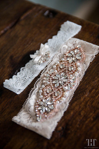 Bespoke rose gold crystal garter set for Jessica M.