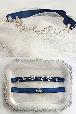 Bespoke navy blue and crystal garters for Liann's sister