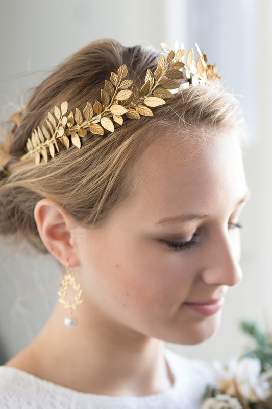 DAPHNE | Statement Grecian Gold Leaf Wedding Crown