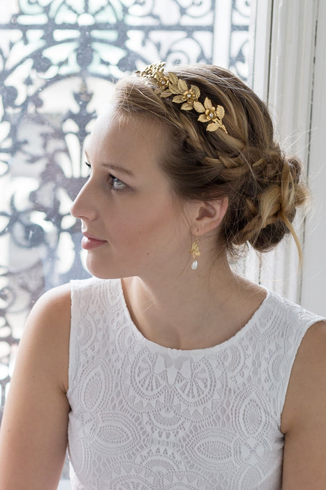 Leaf Bridal Headpiece, Gold or Silver Leaf Wedding Crown - Bridal Tiara - Leaf Bridal Halo