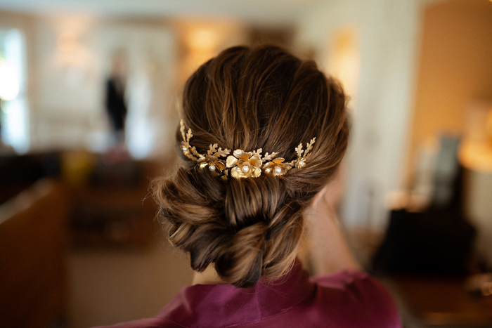 bridal headpiece, gold headpiece, gold wedding comb, oak leaf comb, floral headpiece, wedding headpiece australia, leaf floral comb, bridal comb