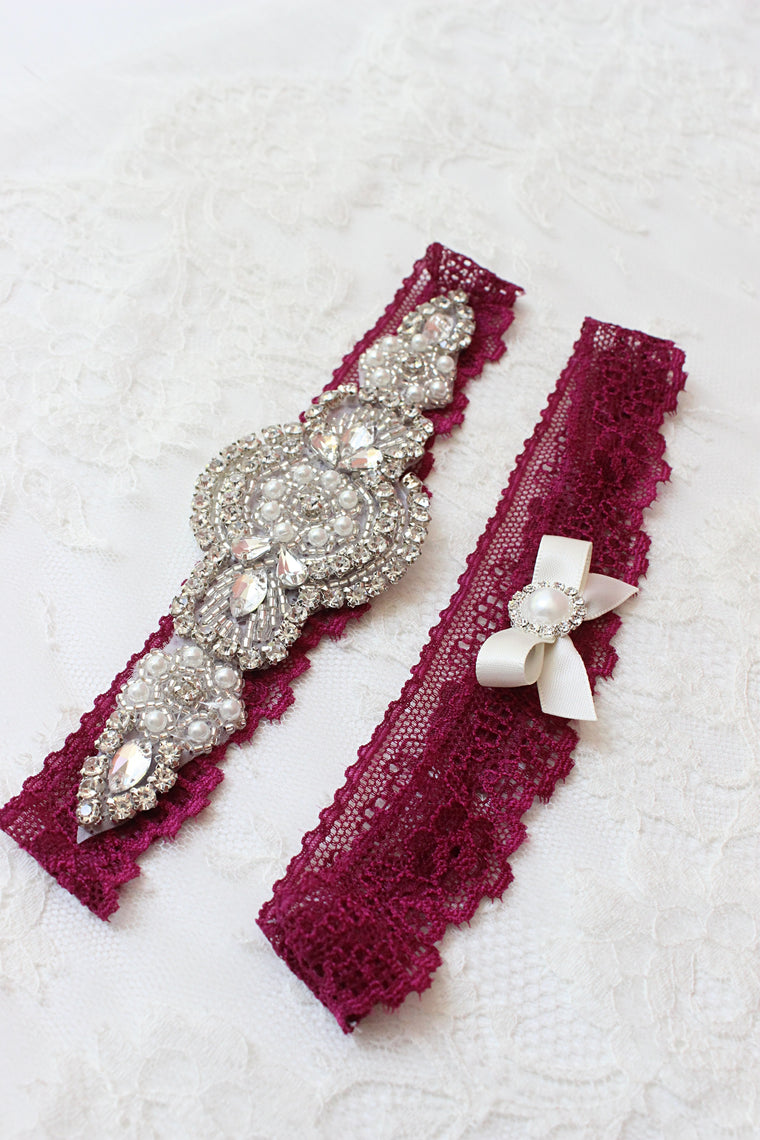 ALICE | Burgundy Wedding Garter Set with Crystals and Pearls - Retro Art Deco