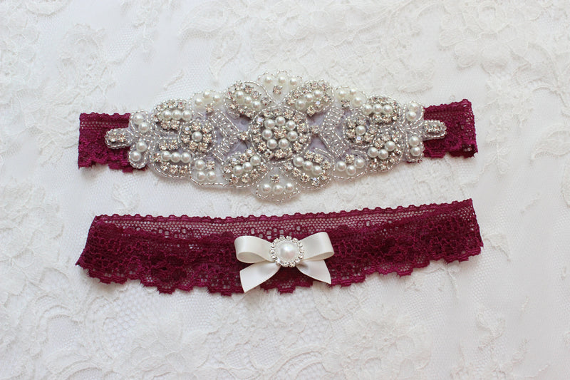 Burgundy Wedding, burgundy wedding Garter Set with Crystals and Pearls, Lace Wedding Garter Burgundy