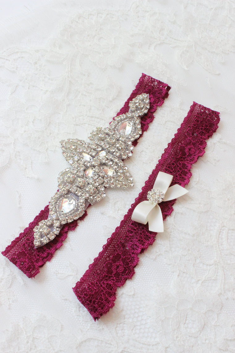 KENNA | Burgundy / Red Wine Lace Wedding Garter Set with Crystals