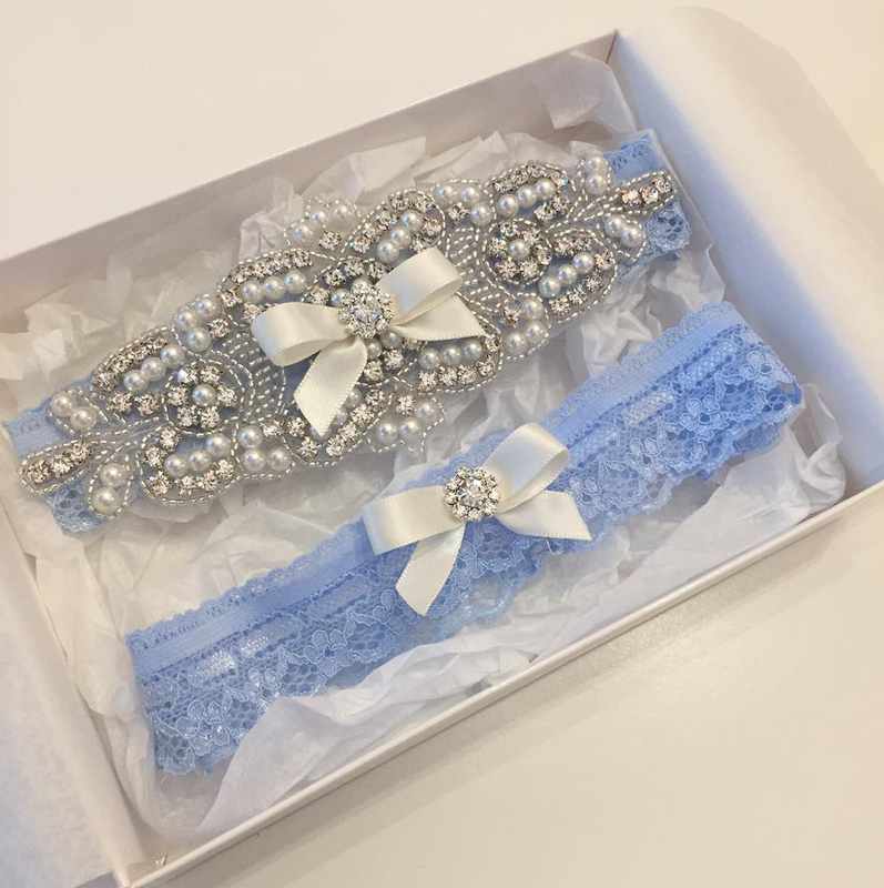 ELISABETH II |  Blue Lace Wedding Garters with Crystals and Pearls - Something Blue Bridal