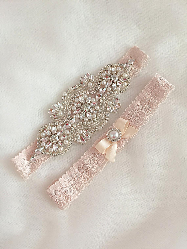 LEILA | Champagne Lace Wedding Garter Set with Crystals and Pearls