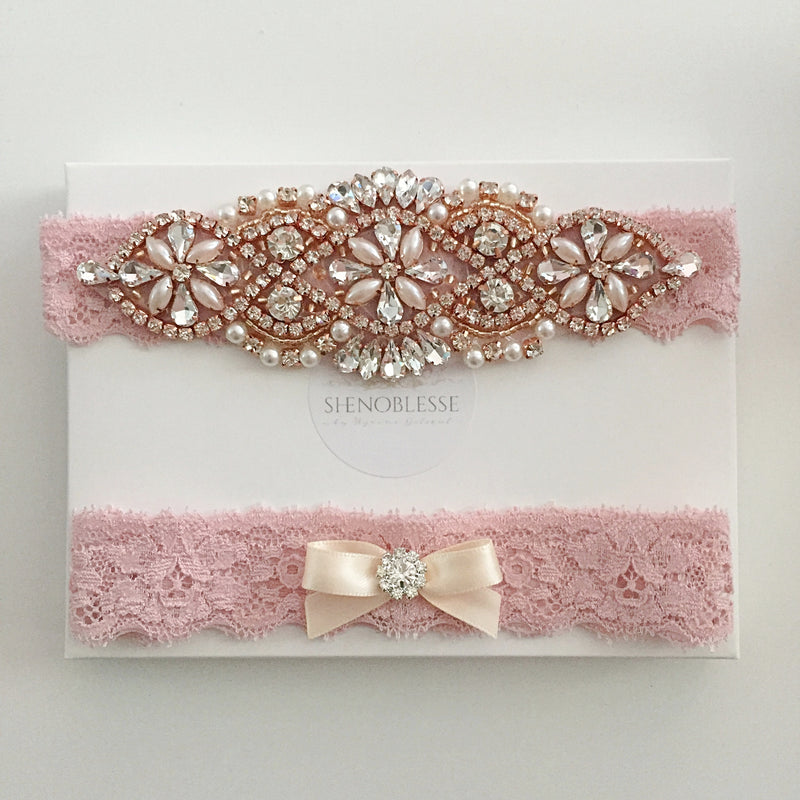 JUDY | Wedding Garter Set Rose Gold Dusty Pink Lace