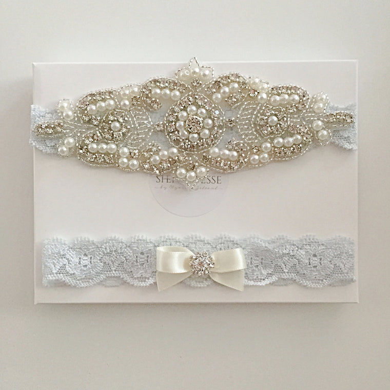 ELISABETH|  Blue Lace Wedding Garters with Crystals and Pearls - Something blue