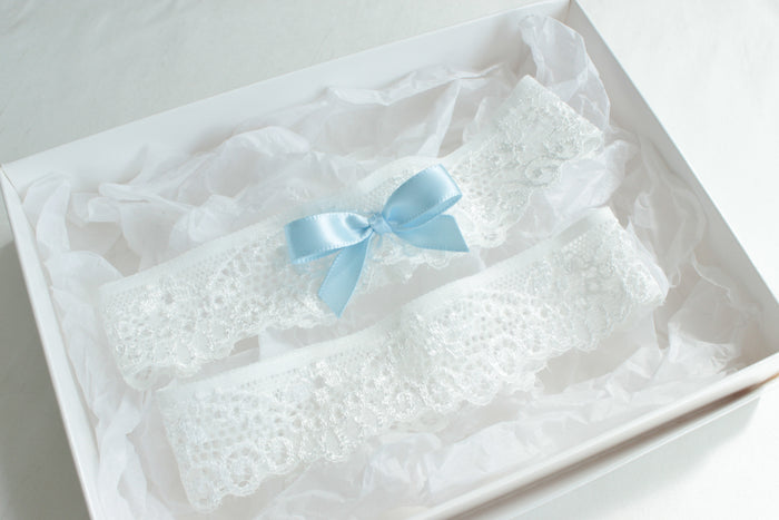 blue wedding garter,something blue wedding,blue bridal accessories,lace garter set,white garter set with blue,bridal lingerie
