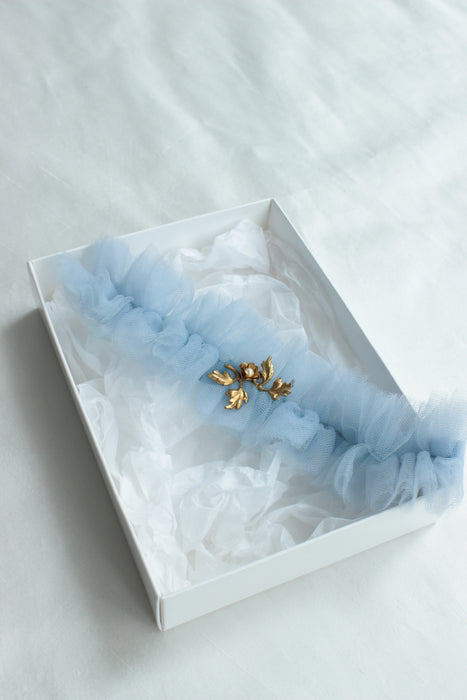 VALENTINA | Soft Dusty Blue Tulle Wedding Garters with Gold Details - Something Blue