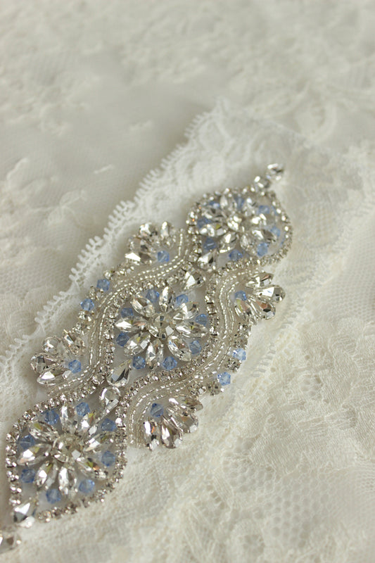 VICTORIA | White Lace Wedding Garter with Light Blue Crystals - Something Blue