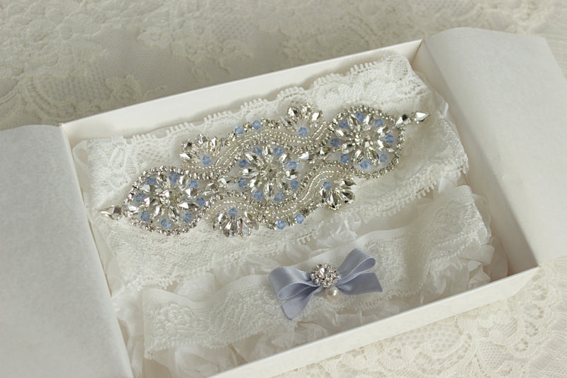 White Lace Wedding Garter with Light Blue Crystals - Something Blue