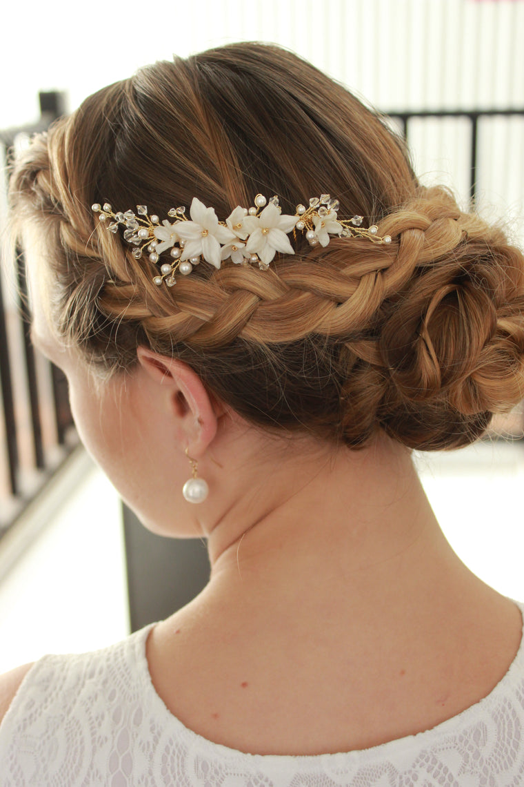 JASMINE BRIDAL COMB | Floral & Vine Bridal Hair Comb with Crystals & Pearls