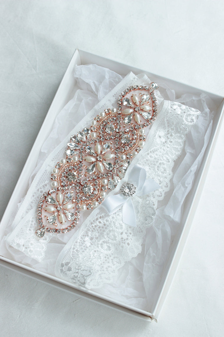 JUDY| Rose Gold Wedding Garter Set with Off-White/Light Ivory Lace, Crystals and Pearls