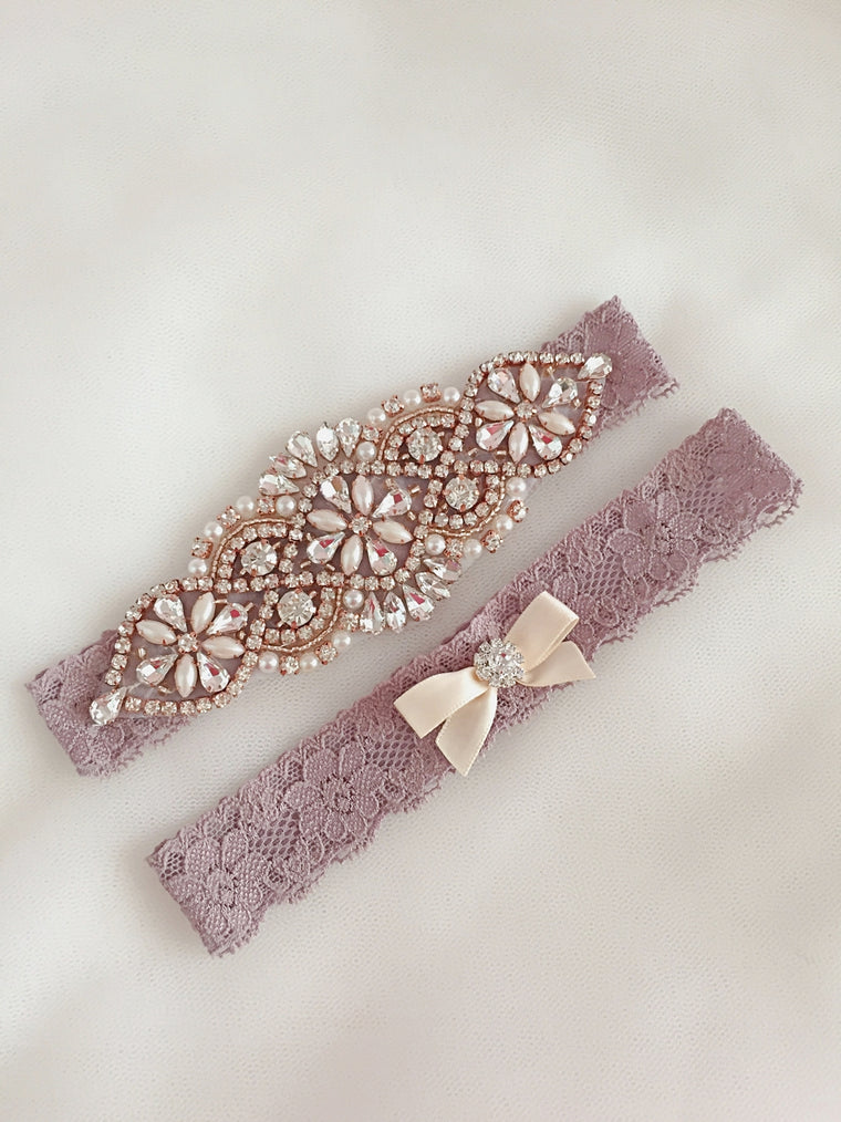 JUDY | Rose Gold Lavender Wedding,Rustic Wedding Garter Set Lavender Rose Gold,Bridal Garter Set