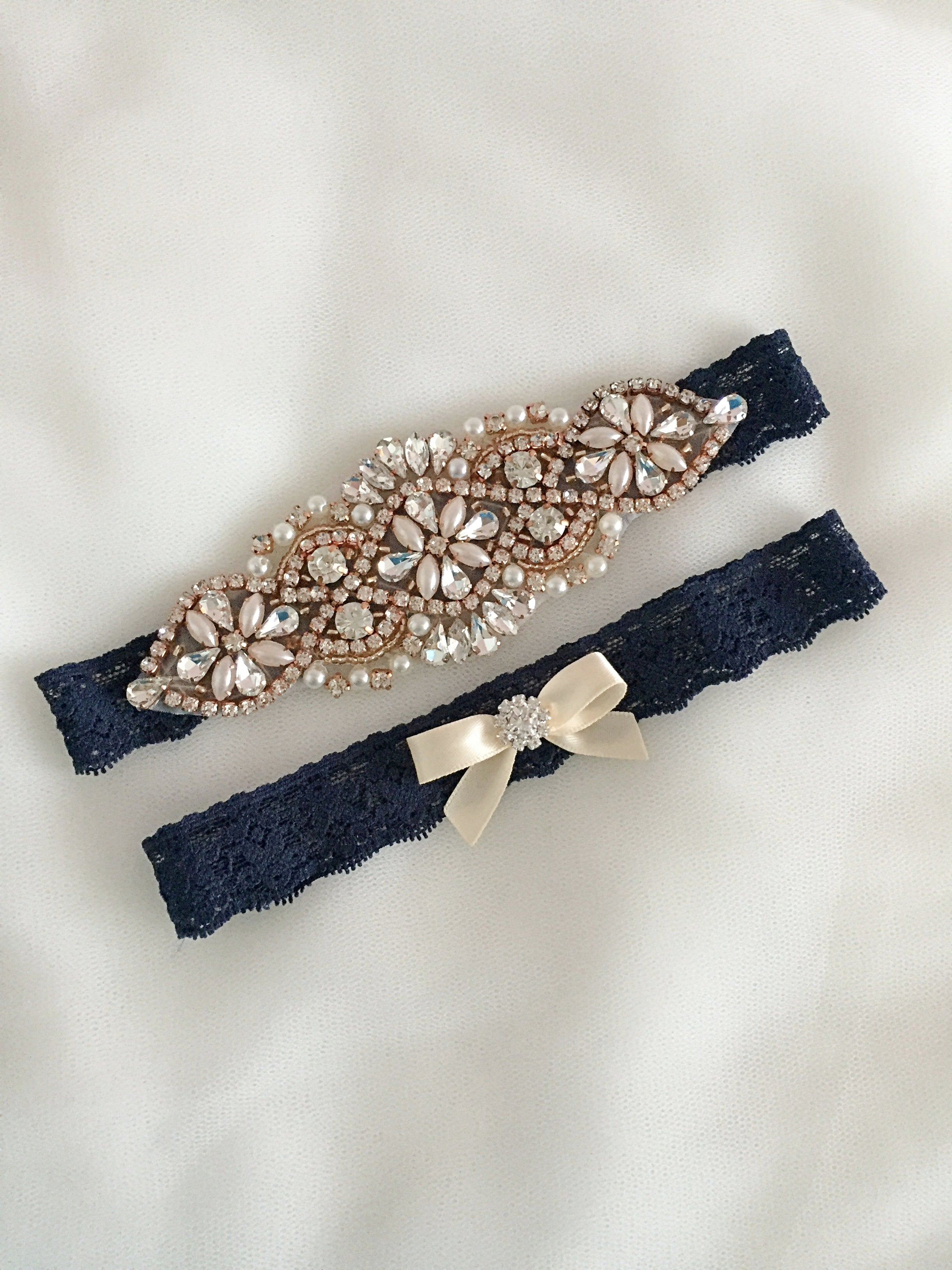 JUDY | Wedding Garter Set Navy Blue,Rose Gold Navy Blue Wedding,Rose Gold Garter