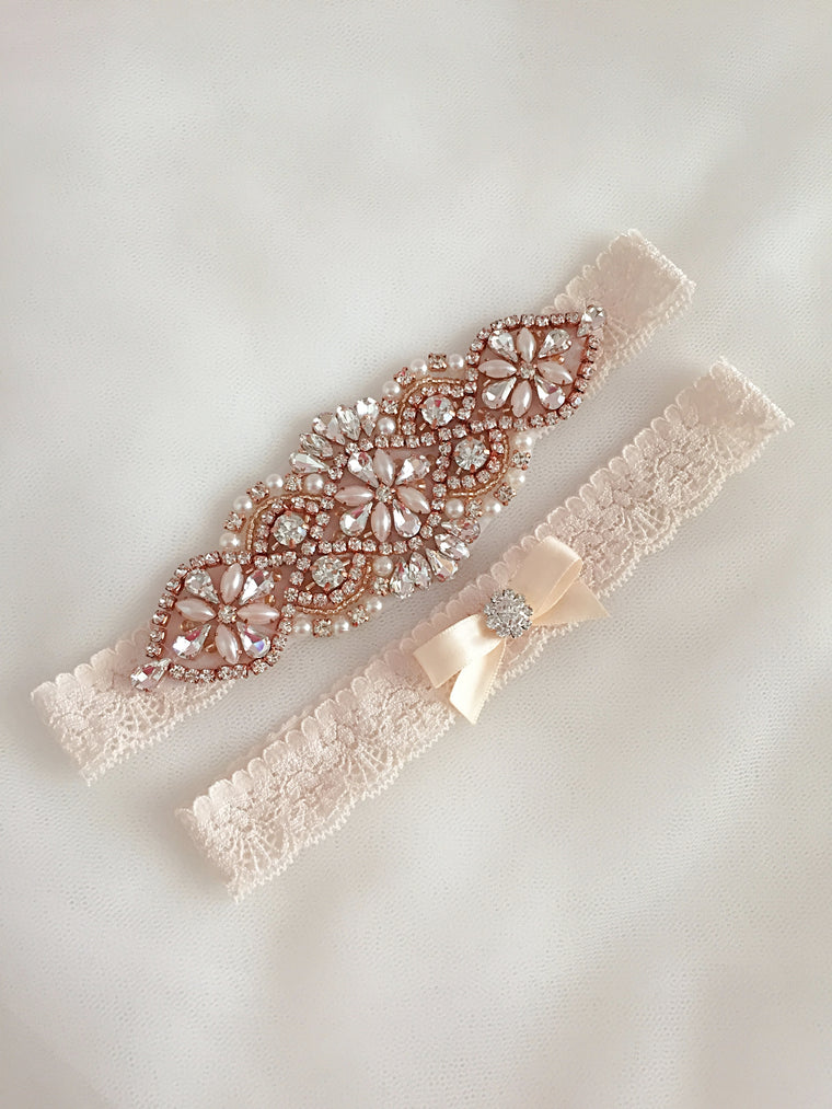 JUDY | Champagne Blush Wedding Garter, Rose Gold Bridal Garter Lace