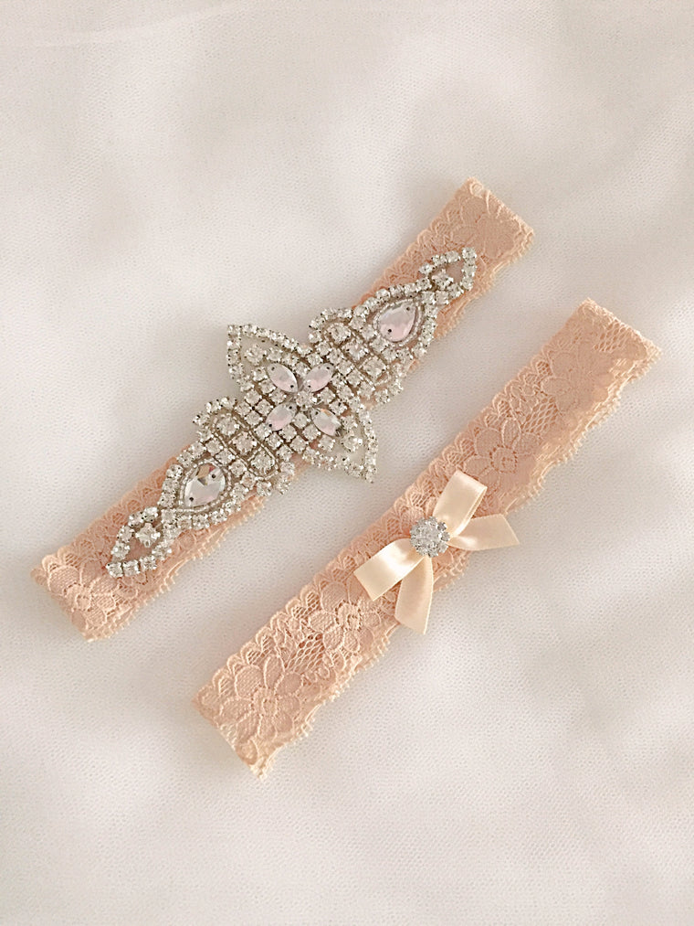 KENNA | Gold Champagne Lace Wedding Garter Set with Crystals