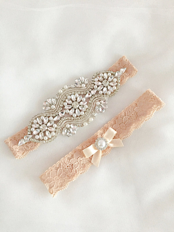 LEILA | Gold Champagne Lace Wedding Garter Set with Crystals and Pearls