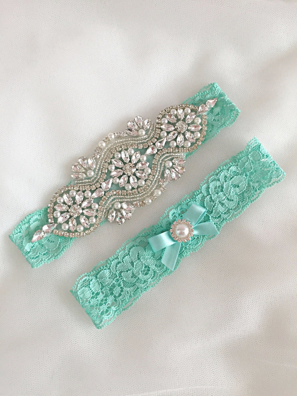 LEILA | Tiffany Blue Lace Wedding Garter Set with Crystals and Pearls