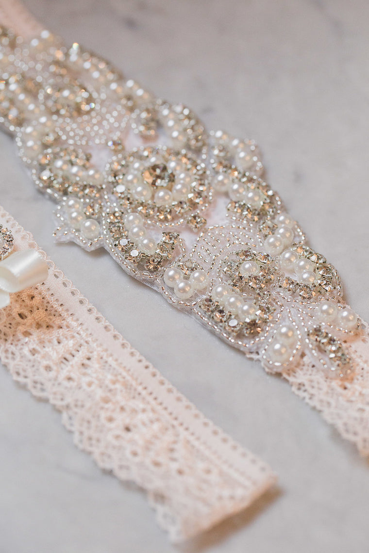 ELISABETH| Blush Lace Wedding Garter Set with Crystals and Pearls