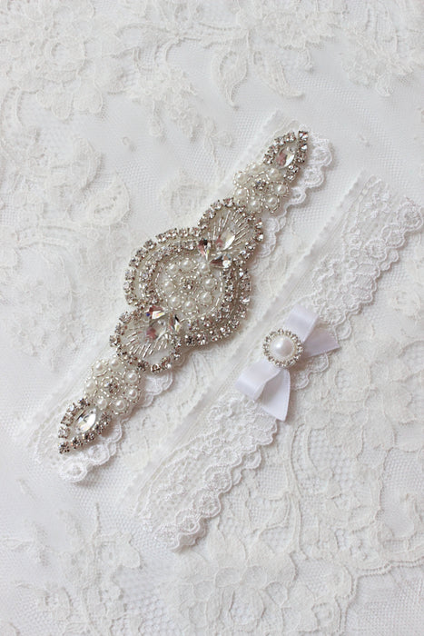 Wedding garter-white wedding garter-lace garter-bridal garter-white lace garter-vintage garter-crystal garter-bling garter