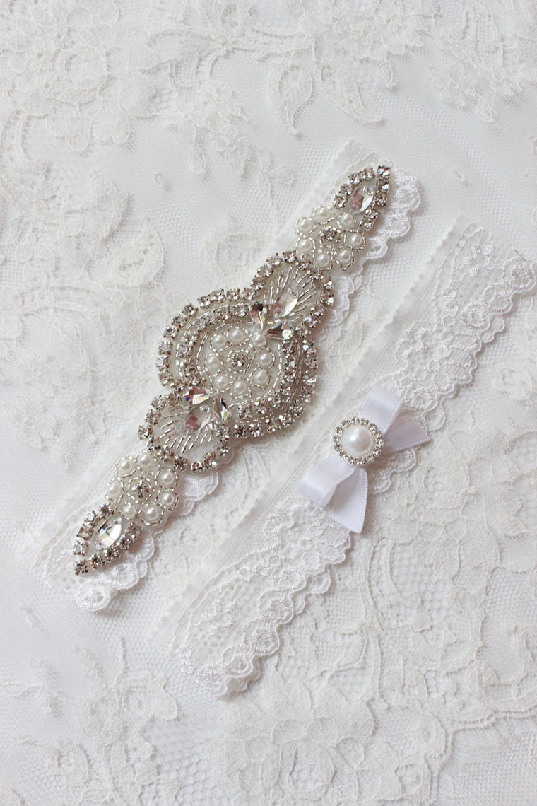 ALICE | White Lace Wedding Garter Set with Crystals and Pearls - Art Deco vibe Wedding