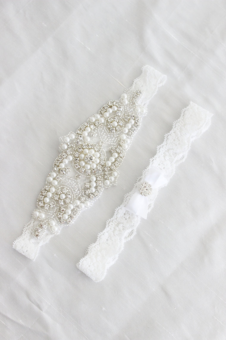 ELISABETH | White Lace Wedding Garter Set with Crystals and Pearls - White Wedding Garters
