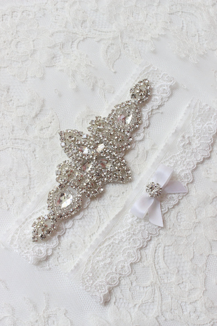 KENNA | Wedding Garter Set with Off-White/Light Ivory Lace and Crystals