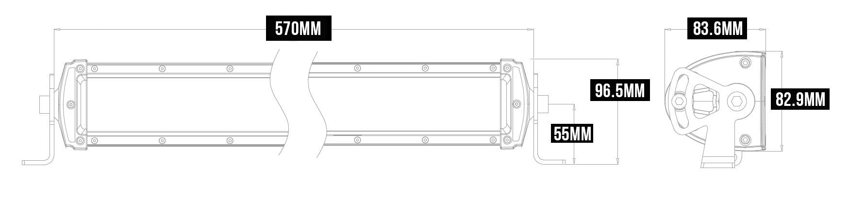 Double Row LED Light Bar Dimension Size
