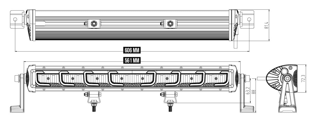 LED Light Bar Single Row Gemtek Osram