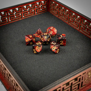 Black & Blood Dice Set- Free US shipping! - Tabletop Artisans