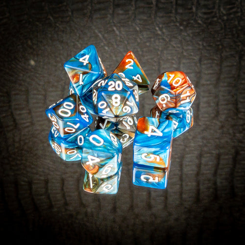 Blue & Copper Dice Set- Free US shipping! - Tabletop Artisans