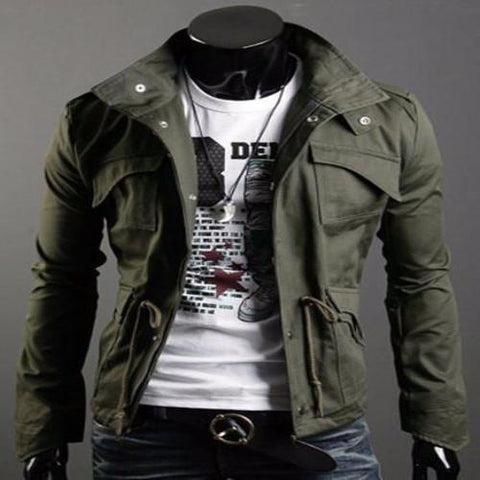 Drawstring Stand Collar Long Sleeve Pockets Design Jacket For Men