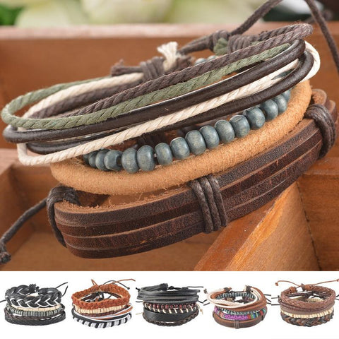 1Set 4pcs Braided Adjustable Leather Bracelet Cuff For Men & Women