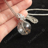 Clover Glass Ball Dandelion Necklace