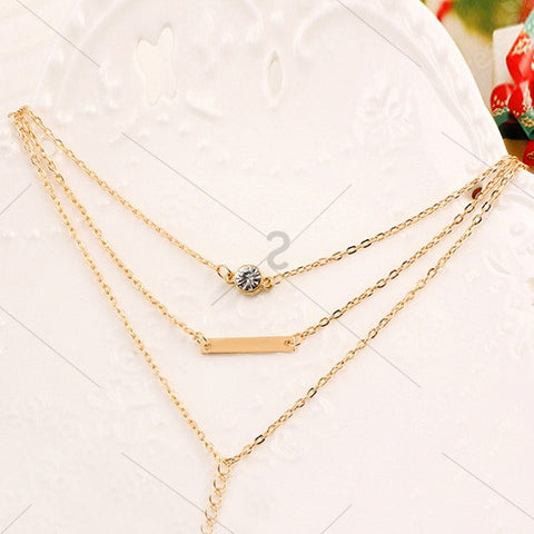 Rhinestone Geometric Bar Layered Pendant Necklace