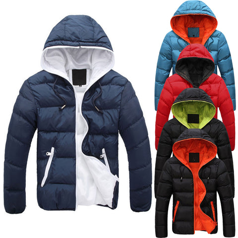 5 colors Men's Slim Casual Warm Jacket Hooded Winter Thick Coat Parka Overcoat  Hoodie New Clothes - Price Drop Online