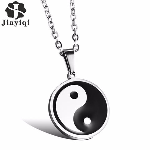 Fashion Jewelry Men's Stainless Steel Necklace Chinese Style Yin Yang Tai Chi Pendant Black White Male Accessories