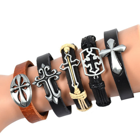 Fashion Hollow Out Mix Cross Genuine Leather Bracelet Hemp Wristband Adjustable Bracelet Men Jewelry 5PCS