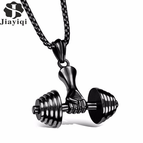 Men's Stainless Steel Dumbbell Hand Pendant Necklace Barbell Sport Rock Male Jewelry Black/Silver/Gold Plated